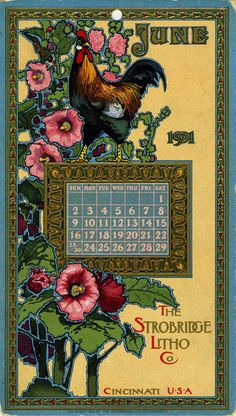 June, 1901, Strobridge Lithographing Company, from the Strobridge Calendar Card Samples, 1899-1912.