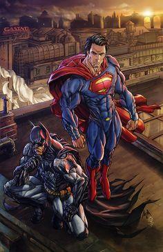 Superman Batman originala fiche final by aleskyarte on DeviantArt Dc Comics Heroes, Arte Dc Comics, Dc Comics Characters, Comic Book Heroes, Batman Vs Superman, Batman Art, Superman Wallpaper, Superman Artwork, Univers Dc