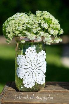 shabby chic wedding mason jar vase by charmaine