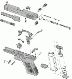 Glock parts diagram. Colt 1911, Rifles, Airsoft, Shooting Sports, Self Defense, Concealed Carry, Cool Guns, Tactical Gear, Guns And Ammo