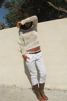 White cotton mix summer sweater by ileaiye on Etsy, full-time-etsy-crafters Loose Knit Sweaters, Summer Sweaters, White Sweaters, Grey Sweater Womens, Beige Vests, Love Fashion, Fashion Outfits, Summer Outfits, Cute Outfits