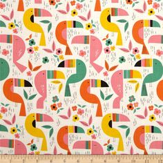 "white animal fabric from the USA with many funny geometric toucans, Toucan Zoo, by Alexander Henry, Collection ""Monkey's Bizness"", Made in Japan Art And Illustration, Pattern Illustration, Illustrations, Textile Design, Fabric Design, Print Design, Graphic Design, Pretty Patterns, Beautiful Patterns"