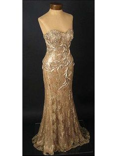 vintage style strapless beaded gold lace evening gown
