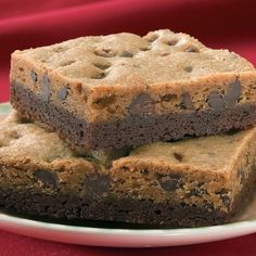 Gourmet Chocolate Chip Brownie Dessert Bar - Chocolate Chip Brownie Dessert Bars combine the best of two classic favorites! Chocolate chip cookie batter is baked on top of a rich dense brownie.