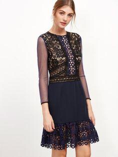 1f17f5a7eb4 Contrast Mesh Crochet Trim Hollow Out Zipper Dress Navy Dress