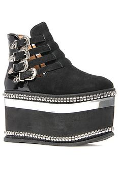 The Bandito Shoe in Black Suede and Silver by Jeffrey Campbell