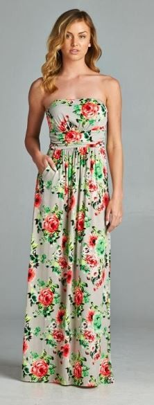Floral Printed Maxi Dress - Beige - On Sale for $28.00 (was $35.00)