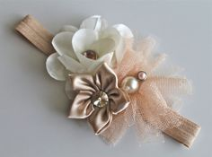 Natural tan baby flower headband cream bronze pearl bouquet for newborn- baby girl- toddler- child- teen -adult
