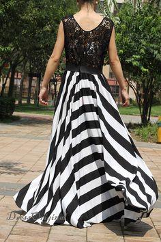 2014 Lace dress/maxi dress/  black/white stripe by DressOriginal