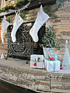 Gorgeous Fireplace decorated for Christmas