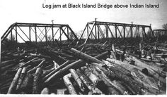 Log Jam at Black Island Bridge above Indian Island  May 1923, Maine