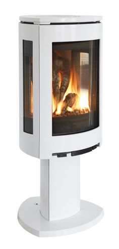 Striking & unique white enamel finish gas stove recently introduced by Jotul.