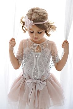 Great Gatsby Flower Girl-Tutu du Monde Enchanted Tutu Dress in Mist and Milky Way Cape. Fashion Kids, Little Girl Fashion, My Little Girl, My Baby Girl, Little Princess, Girly Girl, Flower Girls, Flower Girl Dresses, Gatsby Flower Girl Dress