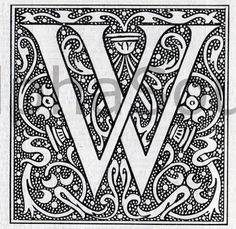 INSTANT Jpeg Download French Letter W Illuminated Lettering Ornate Very Hi Res 600 DPI Image