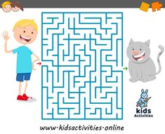 Funny mazes for kids printable Maze Games For Kids, Puzzles For Kids, Activities For Kids, Maze Game Online, Gatos Vector, Mazes For Kids Printable, Timetable Template, School Timetable, Maze Puzzles
