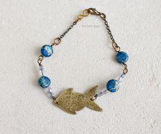 Handmade brass fish bracelet, blue aqua terra jasper gemstones - PetiteFraise Handmade Jewelry #summer #seaside #beach #sea #creatures