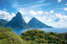 Panorama of Pitons at Saint Lucia, Caribbean
