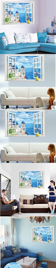Free Shipping 3d scenery Ocean beach tower sea view window wall stickers living room home decor $5.94
