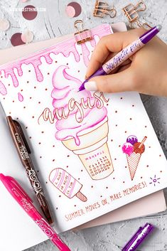 Werbung / Bullet Journal Ideen: Monatsübersicht August Monat Month #bulletjournal #journal #august #month #planner #organizing #pilotpen #pilotfrixion #designyourfrixion #icecream