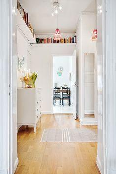 Ceiling Shelves to Store Your Books in Your Small Home Bookshelf Storage, Hallway Storage, Bookshelf Ideas, Shelving, Library Shelves, Office Storage, Shelf Over Door, Decoration Hall, Bookshelf Inspiration
