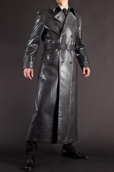 スネークフェイクレザー ナポレオンコート 135 Suit Fashion, Leather Fashion, Mens Fashion, Leather Trench Coat, Leather Jacket, Costume Armour, Long Leather Coat, Superhero Design, Costume Design