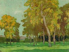 Helene Isenbart, German (Hélène Adolphine Isenbart-Kurlbaum, 1864 died in or after 1927) - Birkenwäldchen ::: Small Birch Wood. Colour Woodcut, 31,5 x 39,9 cm (12,4 x 15,7 in) /// Biographie s. http://www.cabinetondine.nl/Cabinet_Ondine/3_Artist_biographies_%28project%29_2.html