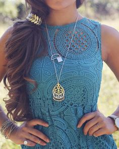 A girl can never have too much jewelry! We love how our gold accessories pop against this darling, lace dress.