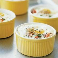 Baked Eggs with Tomatoes, Herbs and Cream! Bake in individual ramekins ...