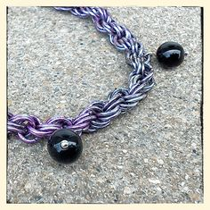 Women's Goth Purple Black Chainmaille Dangle Bracelet 7 to Handmade in USA by BeadModern on Etsy Black Agate, Chainmaille, Purple And Black, Gemstone Jewelry, Dangles, Goth, Handmade Jewelry, Gemstones, Usa