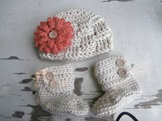 baby girl booties baby clothes crochet hat by stitchesbystephann, $42.00