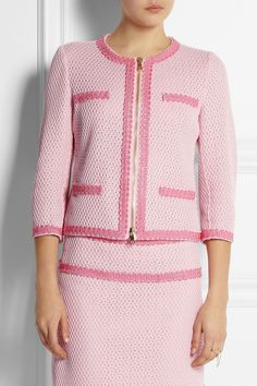 Moschino Cheap and Chic|Open waffle-knit cotton-blend jacket|NET-A-PORTER.COM