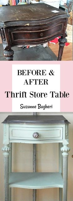 This little vintage table was found in the thrift store. It had a ton of damage but a makeover in Dixie Belle Sea Glass has brought it back to life!