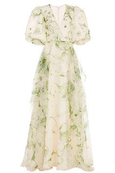 Printed Organza Sleeveless Dress With Asymmetrical Overskirt by COSTARELLOS for Preorder on Moda Operandi Organza Dress, Satin Dresses, Backless Dresses, Sleeveless Dresses, Beach Dresses, Ropa Louis Vuitton, Pretty Dresses, Beautiful Dresses, Mode Kpop