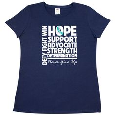 Cervical Cancer Hope Support Strength Women's T-Shirt - Navy | Cancer Shirts | Disease Apparel | Awareness Ribbon Colors