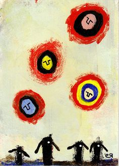 they left their bodies behind e9Art ACEO Surrealism Outsider Visionary Art Painting Brut Fantasy