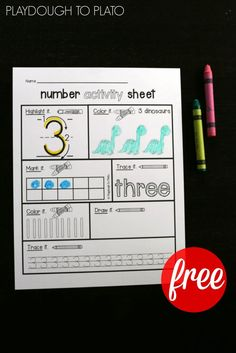 Free Number Activity Sheets! What an awesome way to work on number writing and number concept. These would be perfect math centers!