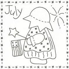 Sunbonnet Sue BOM - July Stitchery Pattern LQC-S7 by Little Quilts - Mary Ellen Von Holt. Make a little calendar quilt, embellish a pillowcase, decorate a shirt or sew a fabric greeting card.