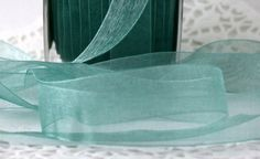 "5 yards Teal Sheer Ribbon,  5/8"" wide Ribbon, Gift Wrap, Sewing, Crafts, Party Supplies, Weddings, Scrapbooking, Narrow Ribbon, Aqua Ribbon"