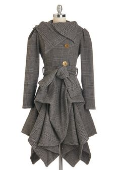 Dropping temperatures are no reason to stay inside and decline a party invite, especially with this woolen coat by Jolaby in your closet! #gold #prom #modcloth