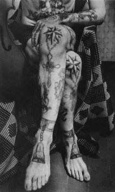 Russian Prison Tattoos: Except I think probably if you're caught with Russian mob tattoo's without belonging to the mob you'd be in trouble. Stars on knees = Bowing to no one.