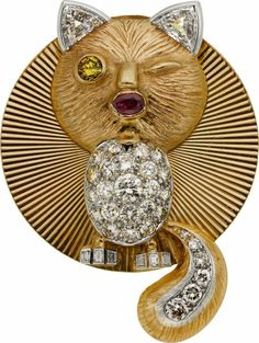 Diamond, Ruby, Gold Pendant-Brooch. ...