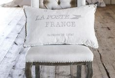 """La Poste France"" Linen Throw Pillow - Our lovely linen throw pillow will at a touch of romance to your shabby chic or country french decor. Relax and dream of the love letters you're waiting to receive from ""La Poste France."""