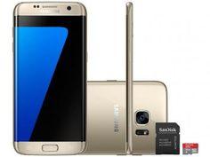 """Smartphone Samsung Galaxy S7 Edge 32GB Dourado 4G - Câm. 12MP + Selfie 5MP Tela 5.5"""" + Cartão 16GB"""