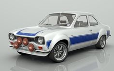 model of the classic Ford Escort, rendered with many different stripe and body colours. A slection of alloy wheels from classic RS Alloys to large racing BBS rims. Escort Mk1, Ford Escort, Ford Rs, Car Ford, Vintage Racing, Vintage Cars, My Dream Car, Dream Cars, Automobile