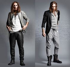 (03a) Meeby Banded Collar Striped Denim Jacket & Patu Leather Biker Jeans - (03b) Pisau Sweatpants - Diesel 2013-2014 Fall Winter Preview Mens Collection: Designer Denim Jeans Fashion: Season Collections, Runways, Lookbooks and Linesheets