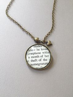 Awesome Hades and Persephone necklace -- Persephone's Orchard Book Quote by Seattle Author Molly Ringle Necklace or Keychain. Quote from Persephone's Orchard: http://www.amazon.com/Persephones-Orchard-Molly-Ringle/dp/1926760980