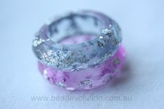 Resin Ring Faceted in Pale Grey with Silver Leaf by Beadevolution
