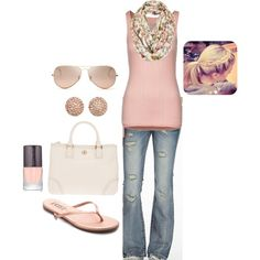 Spring by honeybee20 on Polyvore featuring P.J. Salvage, Miss Me, Tkees, Tory Burch, Michael Kors, Ray-Ban, Topshop and Laura Mercier