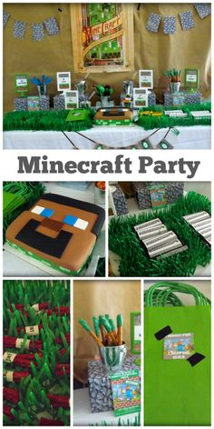 Cool Minecraft party for a boy birthday party, with a great Minecraft birthday cake! See more party ideas at CatchMyParty.com.