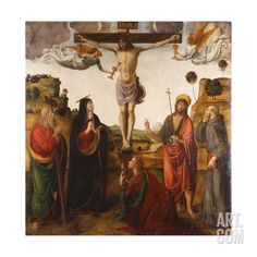 The Crucifixion with the Madonna, Saints John the Baptist, Mary Magdalen, Andrew and Francis Art Print by Cosimo Rosselli at Art.com